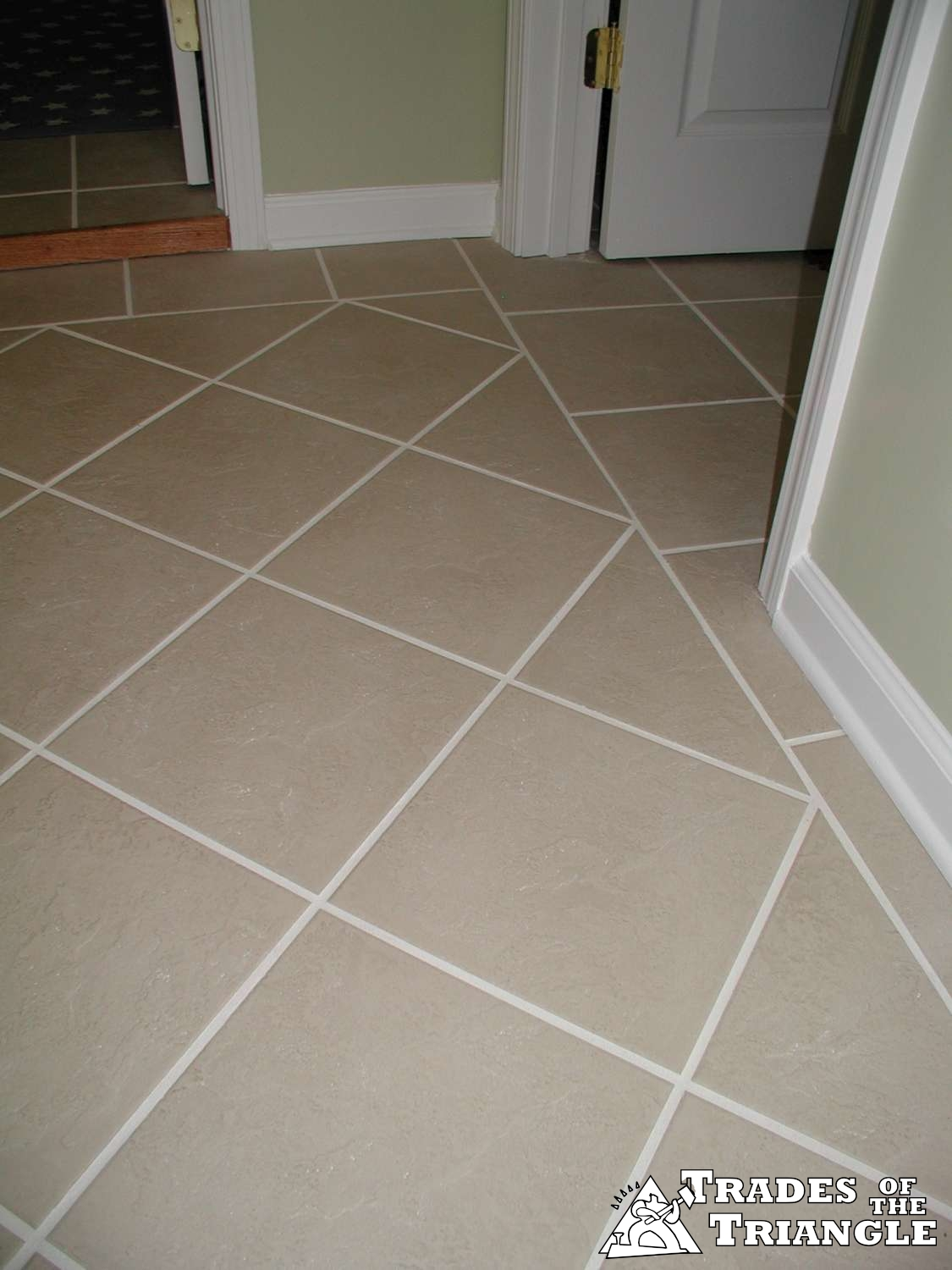 Diagonal Floor Tile Work Chapel Hill